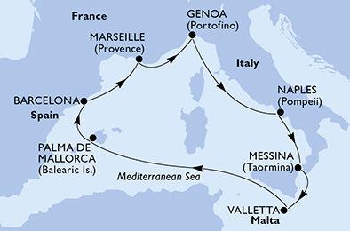 Francúzsko, Taliansko, Malta, Španielsko z Marseille na ...