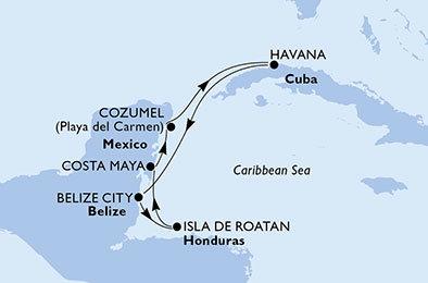 Kuba Belize Honduras Mexiko Z Cozumelu Na Lodi Msc Opera